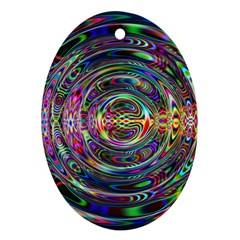 Wave Line Colorful Brush Particles Ornament (oval)