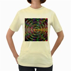 Wave Line Colorful Brush Particles Women s Yellow T Shirt