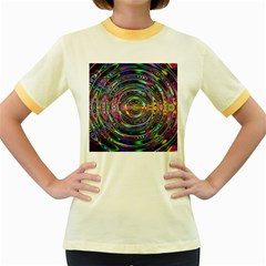 Wave Line Colorful Brush Particles Women s Fitted Ringer T Shirts