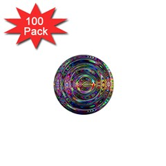 Wave Line Colorful Brush Particles 1  Mini Magnets (100 Pack)
