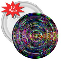 Wave Line Colorful Brush Particles 3  Buttons (10 pack)