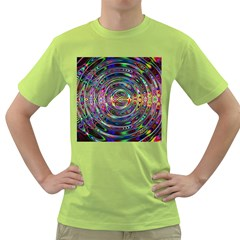 Wave Line Colorful Brush Particles Green T-Shirt