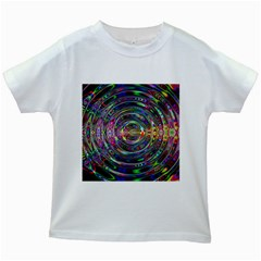Wave Line Colorful Brush Particles Kids White T Shirts