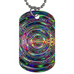 Wave Line Colorful Brush Particles Dog Tag (One Side)