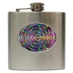 Wave Line Colorful Brush Particles Hip Flask (6 Oz)