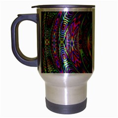 Wave Line Colorful Brush Particles Travel Mug (silver Gray)