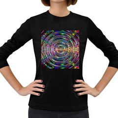 Wave Line Colorful Brush Particles Women s Long Sleeve Dark T-Shirts