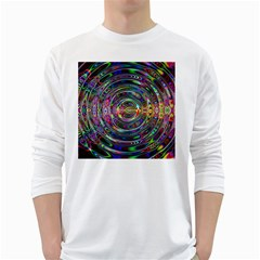 Wave Line Colorful Brush Particles White Long Sleeve T Shirts