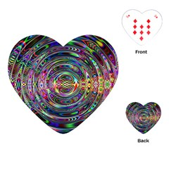 Wave Line Colorful Brush Particles Playing Cards (Heart)