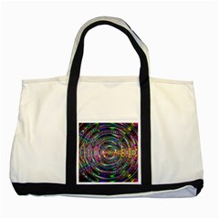 Wave Line Colorful Brush Particles Two Tone Tote Bag