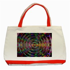 Wave Line Colorful Brush Particles Classic Tote Bag (red)