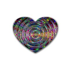 Wave Line Colorful Brush Particles Heart Coaster (4 pack)