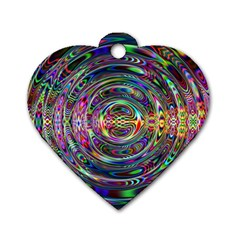 Wave Line Colorful Brush Particles Dog Tag Heart (one Side)