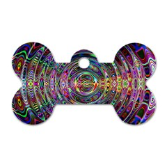 Wave Line Colorful Brush Particles Dog Tag Bone (one Side)