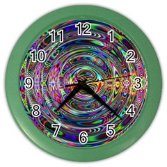 Wave Line Colorful Brush Particles Color Wall Clocks