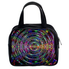 Wave Line Colorful Brush Particles Classic Handbags (2 Sides)
