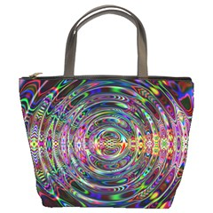 Wave Line Colorful Brush Particles Bucket Bags