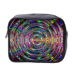 Wave Line Colorful Brush Particles Mini Toiletries Bag 2 Side
