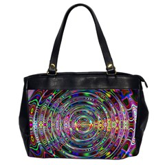 Wave Line Colorful Brush Particles Office Handbags (2 Sides)