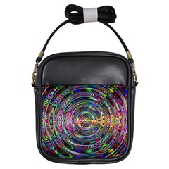 Wave Line Colorful Brush Particles Girls Sling Bags