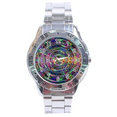 Wave Line Colorful Brush Particles Stainless Steel Analogue Watch