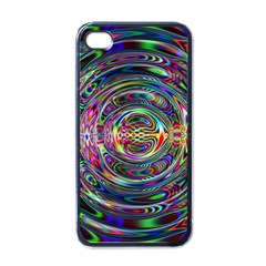 Wave Line Colorful Brush Particles Apple Iphone 4 Case (black)