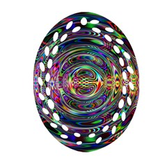 Wave Line Colorful Brush Particles Oval Filigree Ornament (two Sides)