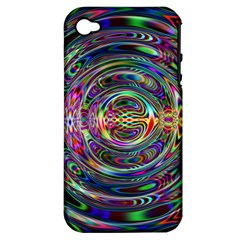 Wave Line Colorful Brush Particles Apple Iphone 4/4s Hardshell Case (pc+silicone)
