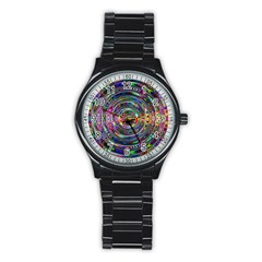 Wave Line Colorful Brush Particles Stainless Steel Round Watch