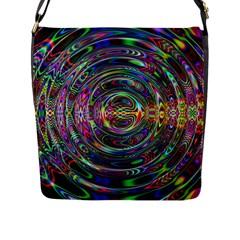 Wave Line Colorful Brush Particles Flap Messenger Bag (l)