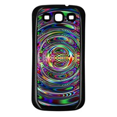 Wave Line Colorful Brush Particles Samsung Galaxy S3 Back Case (Black)