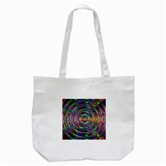 Wave Line Colorful Brush Particles Tote Bag (white)