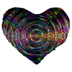 Wave Line Colorful Brush Particles Large 19  Premium Flano Heart Shape Cushions