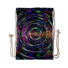 Wave Line Colorful Brush Particles Drawstring Bag (Small)