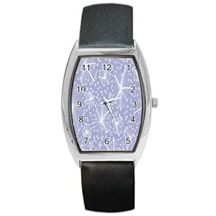 Floral Gray Springtime Flower Barrel Style Metal Watch