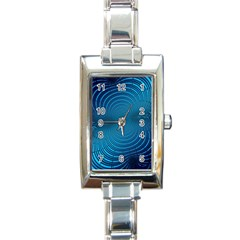 Abstract Fractal Blue Background Rectangle Italian Charm Watch