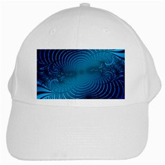 Abstract Fractal Blue Background White Cap