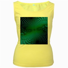 Abstract Fractal Blue Background Women s Yellow Tank Top