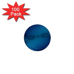 Abstract Fractal Blue Background 1  Mini Buttons (100 Pack)