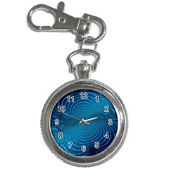 Abstract Fractal Blue Background Key Chain Watches