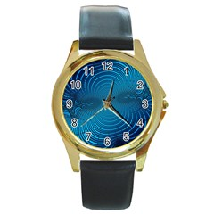 Abstract Fractal Blue Background Round Gold Metal Watch