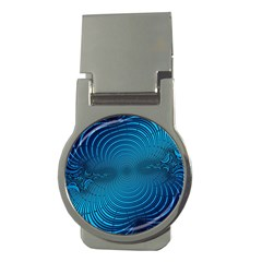 Abstract Fractal Blue Background Money Clips (round)