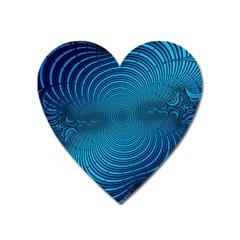 Abstract Fractal Blue Background Heart Magnet