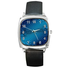 Abstract Fractal Blue Background Square Metal Watch