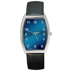 Abstract Fractal Blue Background Barrel Style Metal Watch