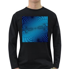 Abstract Fractal Blue Background Long Sleeve Dark T Shirts