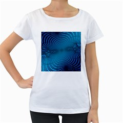 Abstract Fractal Blue Background Women s Loose Fit T Shirt (white)