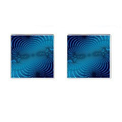 Abstract Fractal Blue Background Cufflinks (Square)