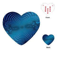 Abstract Fractal Blue Background Playing Cards (Heart)