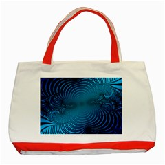 Abstract Fractal Blue Background Classic Tote Bag (red)